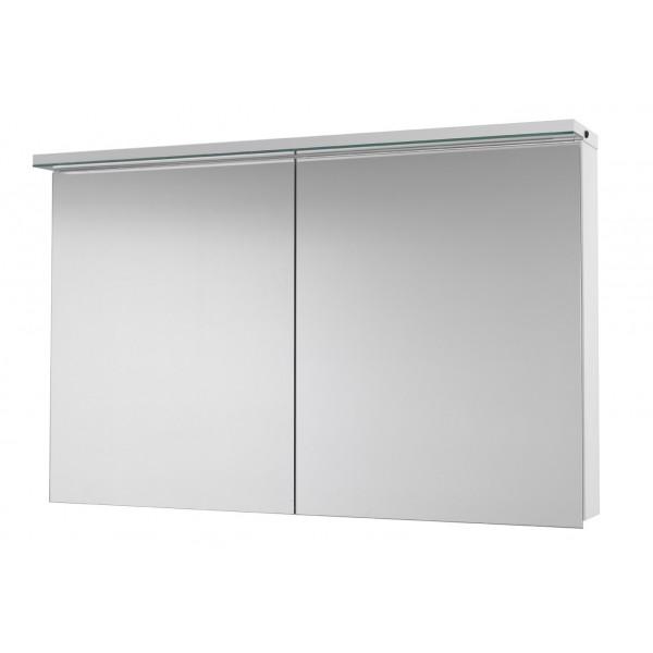 Зеркальный шкаф ASTON 120 с LED-освещением зеркальный шкаф: (ш) 1200 x (в) 767 x (г) 210 корпус: LTD - белый крашеный фасад: двухстороннее зеркало (дверки 60/60) зеркальный шкаф ASTON 120 2D - 60988 с эл. розеткой, бесконтактным датчиком на правой  стороне рампы,мощность LED 17,3Вт