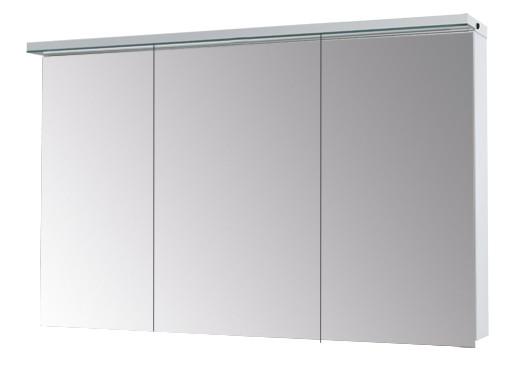 зеркальный шкаф ASTON 120 с LED-освещением  шкафчик над умывальником : (ш) 1200 x (в) 767 x (г) 210 корпус: LTD - белый крашеный фасад: двухстороннее зеркало (дверки 40/40/40) зеркальный шкаф ASTON 120 3Д - 60995 с эл. розеткой, бесконтактным датчиком на правой  стороне рампы, мощность LED 17,3Вт