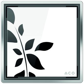 Стеклянная решетка Aco Белая с рисунком для душевого трапа Easy Flow