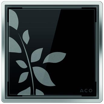 Стеклянная решетка Aco Черная с рисунком для душевого трапа Easy Flow