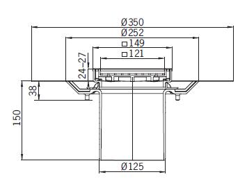 Верхняя часть из пластика Aco 5141.31.00 для душевого трапа Aco Easy Flow