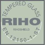 Душевая шторка Riho - толщина стекла 8 мм. Закаленноестекло в соответствии с нормой EN 12150-1-Sts с поверхностной обработкой Riho Shield